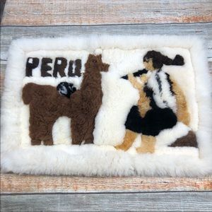 "Alpaca Peru Rug Wallhanging 25"" Long 17"" Tall"
